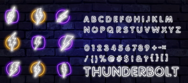 Neon set of lightning bolt. glowing electric flash sign, thunderbolt electricity power icons.