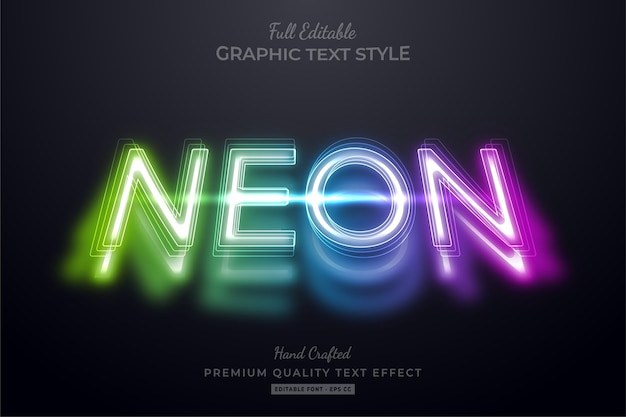 Neon shadow editable premium text style effect