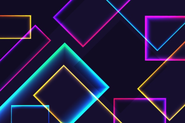Neon shapes on dark background