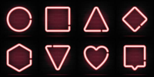ネオンシェイプセット。三角形、六角形、円、ハート、正方形。テキストや碑文の明るい流行の数字。ネオンライトバナーコレクション。