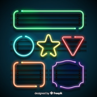 Neon shapes set