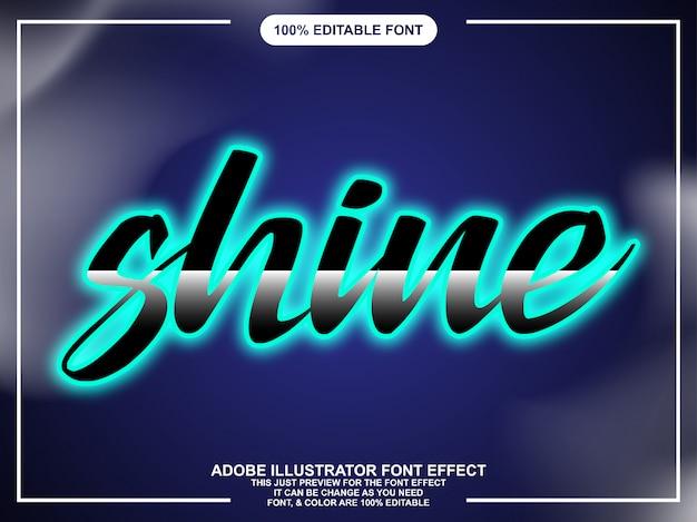 Neon shine editable text font effect