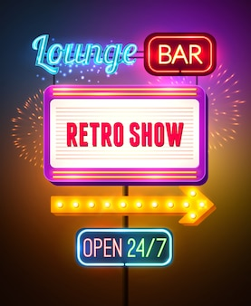 Neon showing sign poster Free Vector