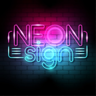 Neon sign 3d font effect