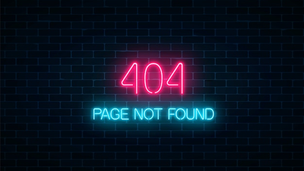 Neon sign of 404 error page not found on dark brick wall background. red and blue neon connection error web site page.