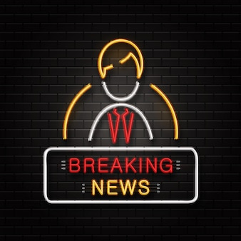 Neon sign of anchorman for decoration on the wall background. realistic neon logo signboard for breaking news. concept of journalism profession, media and broadcast. Premium Vector
