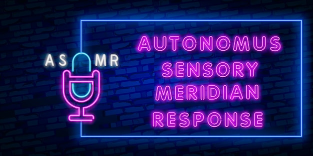 Neon sign of asmr frame for template decoration and covering on the wall