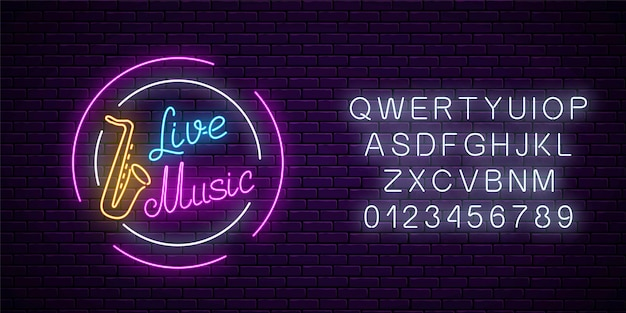 Neon sign of bar with live music on a brick wall background with alphabet. advertising glowing signboard of sound cafe with saxophone symbol. vector illustration.