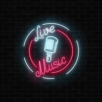 Neon sign of bar with live music on a brick wall background