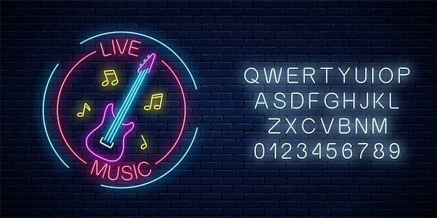 Neon sign of bar with live music with alphabet on a brick wall background. advertising glowing signboard of sound cafe with electric guitar and music notes symbols. vector illustration.