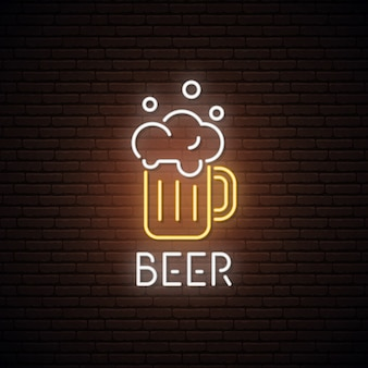 Neon sign of beer mug.
