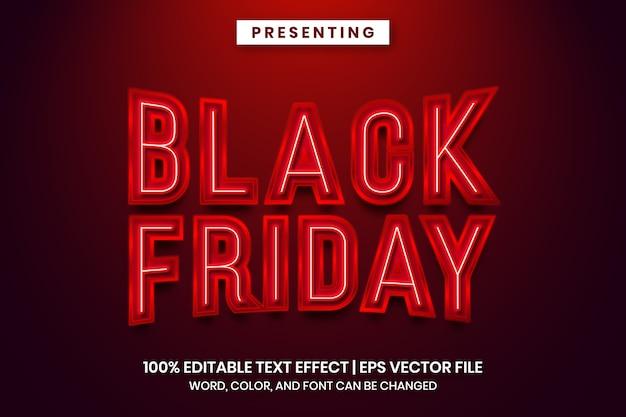Неоновая вывеска черная пятница текстовый эффект шаблон