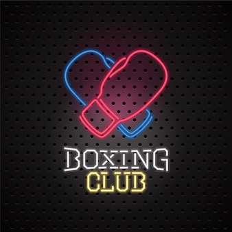 Neon sign for boxing club  emblem