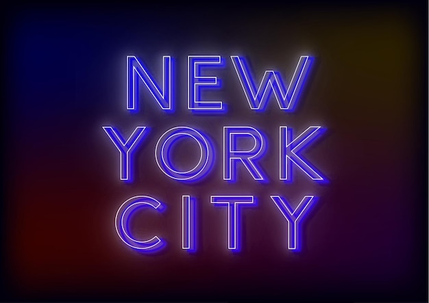 Neon sign bright attracts the attention of a luminous sign saying new york citi Premium Vector