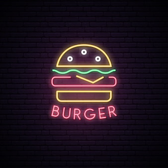 Neon sign of burger.