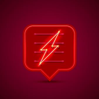 赤い背景に稲妻看板のネオンサインチャット。ベクトルイラスト