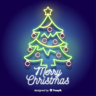 Neon sign christmas tree background
