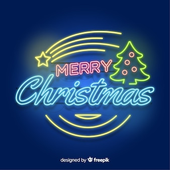 Neon sign christmas tree with star background