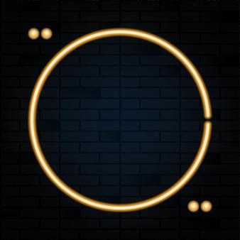 Неоновая вывеска круг цитата пузырь на фоне черного кирпича. векторная иллюстрация.