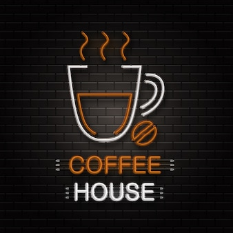 Neon sign of coffee cup for decoration on the wall background. realistic neon logo for coffee house. concept of cafe and restaurant.