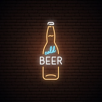 Neon sign of cold beer.