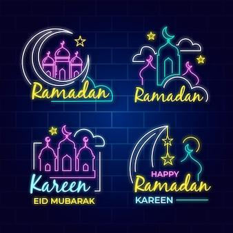 Коллекция неоновых вывесок с темой рамадана