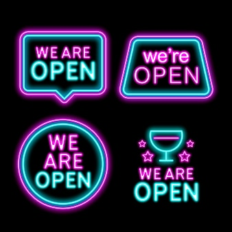 Neon sign collection with we are open