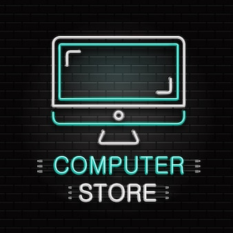 Neon sign of computer for decoration on the wall background. realistic neon logo for computer store. concept of electronics shop and technology.