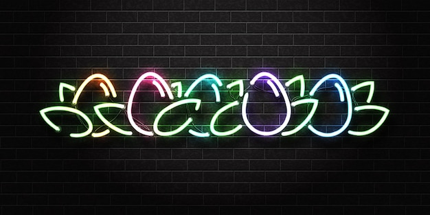 Neon sign of easter eggs