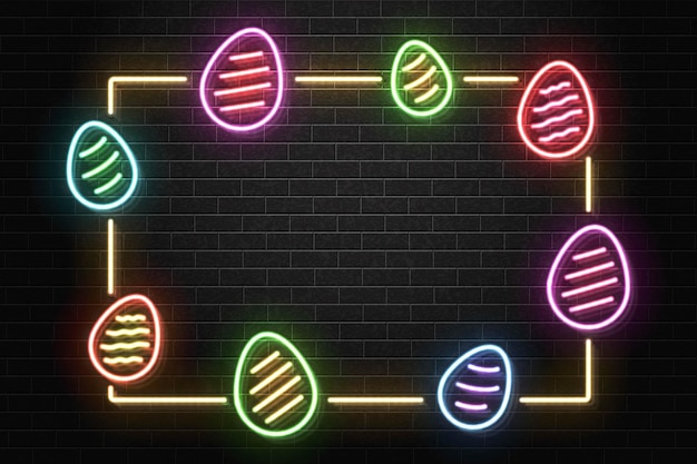 Neon sign of easter frame
