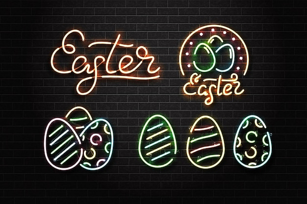 Neon sign of easter set