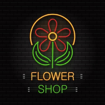 Neon sign of flower for decoration on the wall background. realistic neon logo for flower shop. concept of floral store and florist profession.