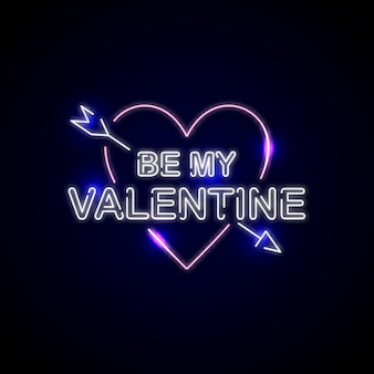 幸せなバレンタインデーのイラストデザインのネオンサイン
