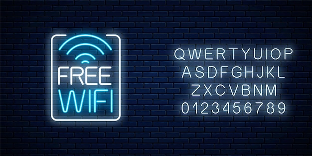 Neon sign of free wifi zone in rectangle frame with alphabet on dark brick wall background. wireless connection free access in cafe, night club or bar. vector illustration.