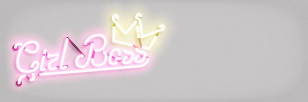 Neon sign of girl boss concept