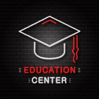 Neon sign of graduation cap for decoration on the wall background. realistic neon logo for education center. concept of back to school and university.