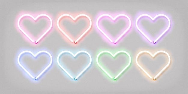 Neon sign of heart set