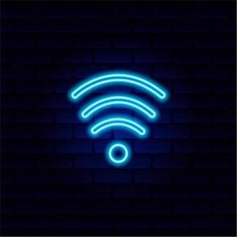 Неоновая вывеска значок wi-fi, отличный дизайн для любых целей. дизайн векторной иллюстрации.