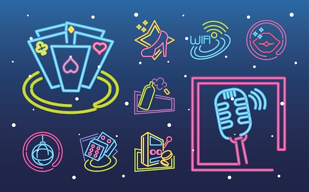 Neon sign icons collection of casino gambling and music on gradient illustration