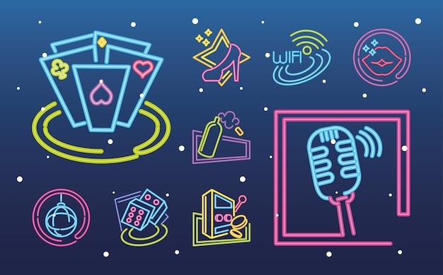Коллекция неоновых вывесок казино, азартных игр и музыки на градиентной иллюстрации