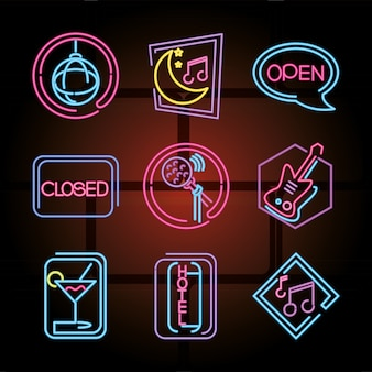 Neon sign icons set night club, disco and karaoke illustration