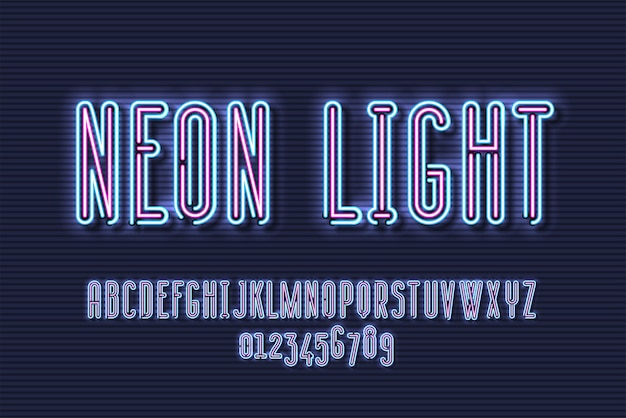 Neon sign lamp font design, alphabet, character set, typeface, typography, electricity light retro letters.