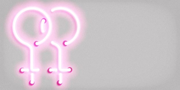 Neon sign of lesbian symbol concept