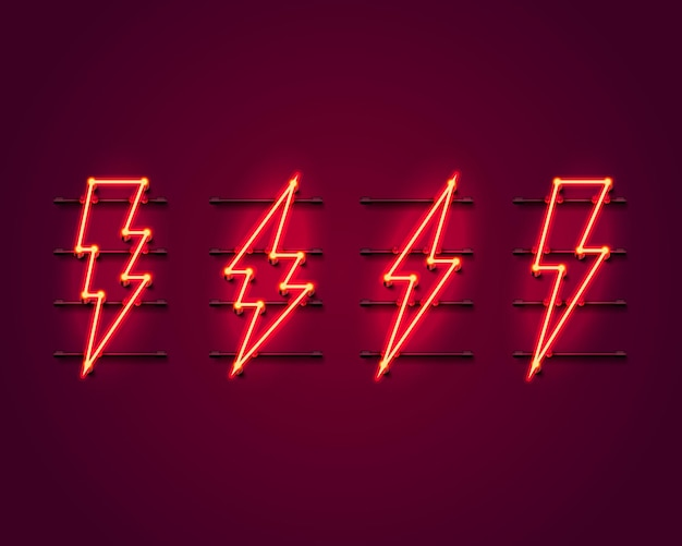 Neon sign of lightning signboard on the red wall.