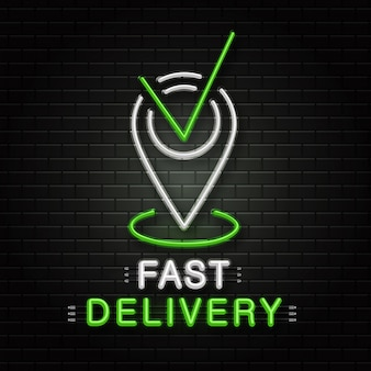 Neon sign of map pin for decoration on the wall background. realistic neon logo for fast delivery service. concept of logistics, transportation and courier profession.