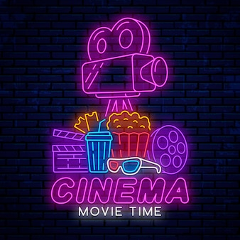 Neon sign for movie theater isolated on realistic wall