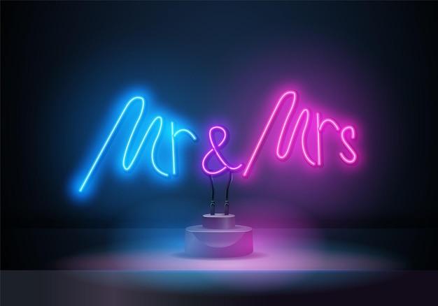 네온 사인 mr and mrs는 어두운 배경 벡터 삽화에 글씨를 쓰고 있습니다. 로고 디자인 템플릿입니다. 라이트 배너, 광고를 위한 빛나는 네온 간판.
