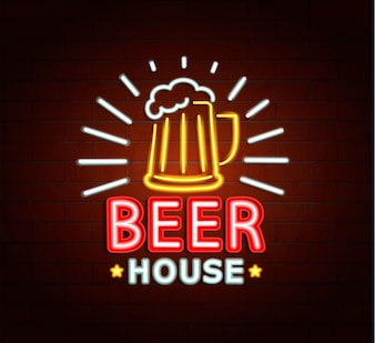 Neon sign of beer house.