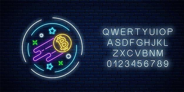 Неоновая вывеска растущей валюты биткойн с алфавитом. эмблема роста криптовалюты со звездами в круговой рамке