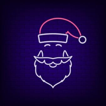 Неоновая вывеска в виде шляпы и бороды санта-клауса, светящаяся вывеска в новогоднюю и рождественскую ночь